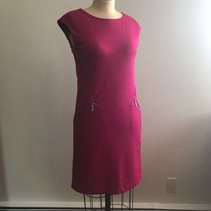 🌸 Michael Kors Fuschia Sleeveless Dress Pockets